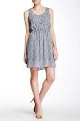 Daniel Rainn Sleeveless And Printed Woven Blouson Dress Blue
