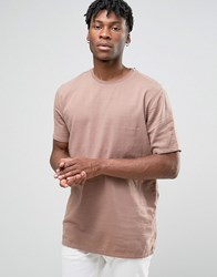 Asos Woven T Shirt In Slub Texture In Dusty Pink Dusty Pink