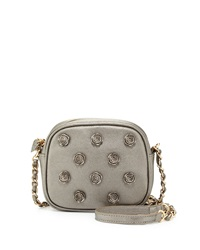 Betsey Johnson Smell The Roses Faux Leather Crossbody Bag Pewter Silver