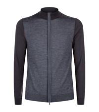 Armani Collezioni Colour Block Zip Up Cardigan Male Dark Grey