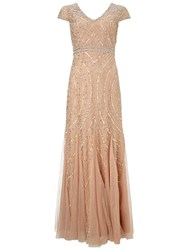 Adrianna Papell Cap Sleeve Beaded Gown With Godets Blush