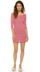 Edith A. Miller Boat Neck Mini Dress Red Natural Classic Stripe