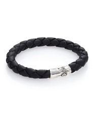 John Hardy Bamboo Woven Leather And Sterling Silver Bracelet Black