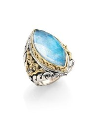 Konstantino Chrysocolla Clear Quartz Sterling Silver And 18K Yellow Gold Marquise Ring