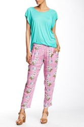 Velvet By Graham And Spencer Floral Print Pant Pink