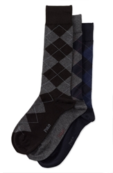 Polo Ralph Lauren Argyle Socks 3 Pack Black Charcoal Heather Navy