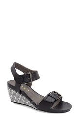 Women's David Tate 'Touch' Wedge Black Leather
