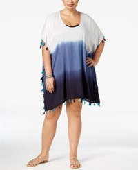 Raviya Plus Size Ombre Tunic Cover Up Women's Swimsuit Navy