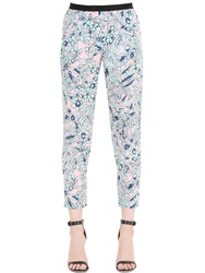 Monocrom Printed Silk Cady Pants Blue Pink
