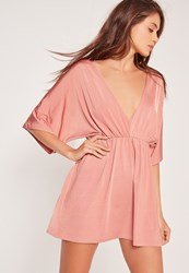 Missguided Plunge Kimono Slinky Dress Pink Pink