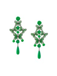 Lydia Courteille Butterfly And Rose Diamond Tear Drop Earrings Green