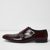 River Island Mensdark Red Patent Leather Monk Strap Shoes