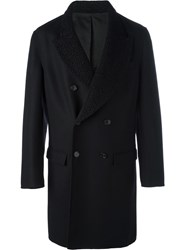 Ermanno Scervino Textured Peaked Lapel Coat Black