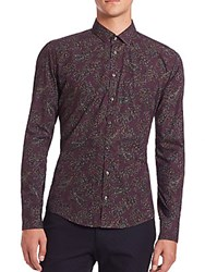 Sand Paisley Print Dress Shirt Purple