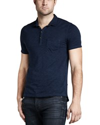 7 For All Mankind Burnout Slub Polo Coastal Blue