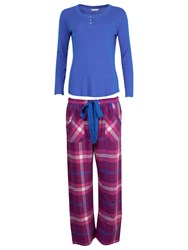Cyberjammies Checked Lightly Brushed Pyjama Set Magenta Blue