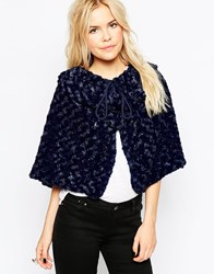 Liquorish Faux Fur Poncho Cape Navy