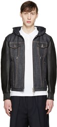 Dsquared Navy Denim And Leather Jacket