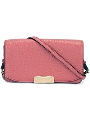 Burberry Grained Leather Crossbody Bag Pink And Purple