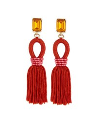 Oscar De La Renta Short Woven Tassel Earrings Poppy