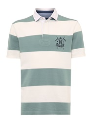 Howick California Block Stripe Short Sleeve Rugby Green