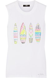 Markus Lupfer Surfboards Hetty Sequined Cotton Tank White