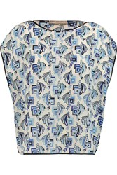 Emilio Pucci Printed Silk Crepe De Chine Top Blue