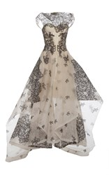 Zac Posen Guipure Lace Tiered Gown Multi
