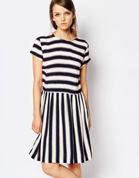 Sams0e And Sams0e Samsoe And Samsoe Vermund Skater Dress In Stripe Multi