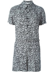 Carven Printed Button Playsuit Black