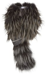 Women's Fabiana Filippi Genuine Fox Fur Scarf With Beaded Suede Pull
