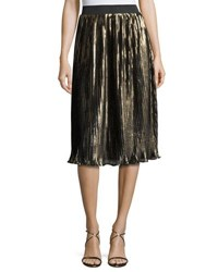 Romeo And Juliet Couture Pleated Metallic Midi Skirt Gold