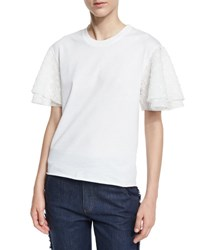 See By Chloe Boxy Cropped Jersey Tee With Embellished Sleeves White