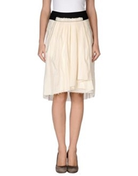 Dondup Knee Length Skirts Ivory