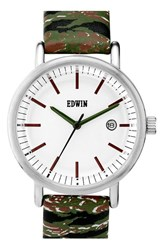 Women's Edwin Tiger Camo Leather Strap Watch 38Mm