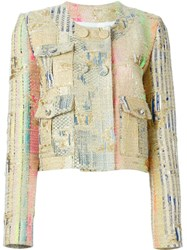Msgm Boucla Buttoned Jacket Metallic