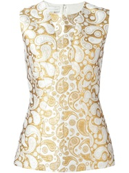 Stella Mccartney 'Annie' Paisley Jacquard Sleeveless Top Nude And Neutrals