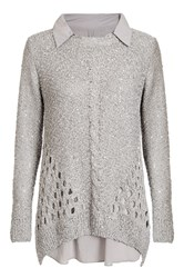 Quiz Grey Sequin Knit Bow Back Jumper Grey