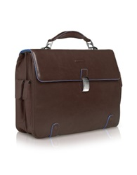 Piquadro Blue Square Leather 15 Laptop Briefcase Dark Brown