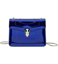 Bulgari Serpenti Forever Metallic Leather Shoulder Bag Royal Sapphire