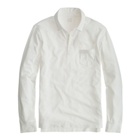 J.Crew Tall Broken In Long Sleeve Pocket Polo White