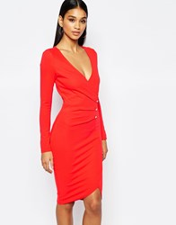 Lipsy Ruched Front Pencil Dress With Button Detail Red