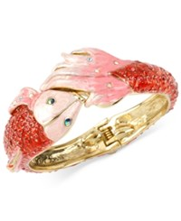 Betsey Johnson Gold Tone Pave Fish Hinged Bangle Bracelet
