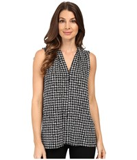 Vince Camuto Sleeveless Check Memoir V Neck Top Antique White Women's Clothing