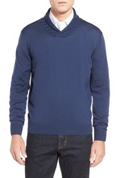 Men's Thomas Dean Shawl Collar Sweater Denim