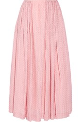Emilia Wickstead Poppy Wool Blend Cloque Midi Skirt Pastel Pink