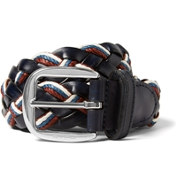 Etro 3.5Cm Leather And Elasticated Woven Belt Blue