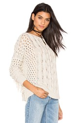 Autumn Cashmere Fringe Crew Neck Sweater Beige