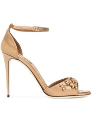 Dolce And Gabbana Embellished Stiletto Sandals Nude And Neutrals