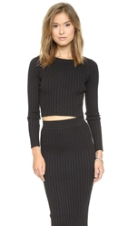 For Love And Lemons Knitz Back To Basics Crop Sweater Black